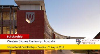 E.A. Southee International Scholarship at Western Sydney University 2019