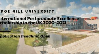 Edge Hill University International Postgraduate Excellence Scholarship in the UK 2020-2021