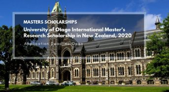University of Otago International Master's Research Scholarship in New Zealand, 2020