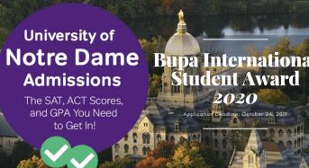 University of Notre Dame Bupa International Student Award, Australia