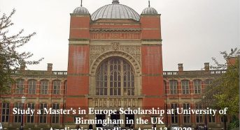 Study a Master's in Europe Scholarship at University of Birmingham in the UK