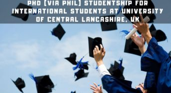 PhD (ViaPhil) Studentship for International Students at University of Central Lancashire, UK