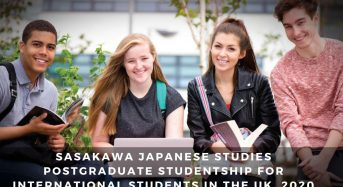 Sasakawa Japanese Studies Postgraduate Studentship for International Students in the UK, 2020