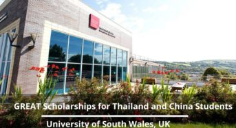 GREAT Scholarships for Thailand and China studentsat University of South Wales in the UK, 2020