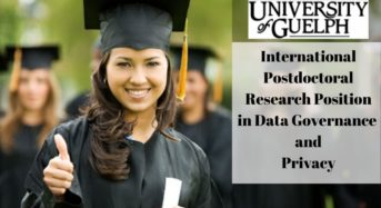 International Postdoctoral Research Position in Data Governance & Privacy at University of Guelph, Canada