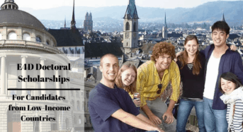 E4D Doctoral Scholarships for Candidates from Low-IncomeCountries in Switzerland